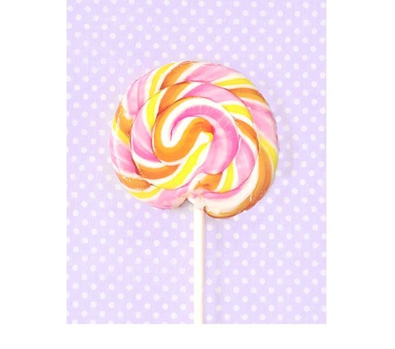 Pink Purple Lollipop photo lollipop print, radiant orchid, yellow, colorful, children's art, nursery art, kitchen art, Food Art candy dreamy - semisweetstudios