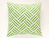 Green Throw Pillow Cover. Parquet Geometric Green 16x16, 18x18, 20x20 or Lumbar. Decorative Pillow Cover - thebluebirdshop