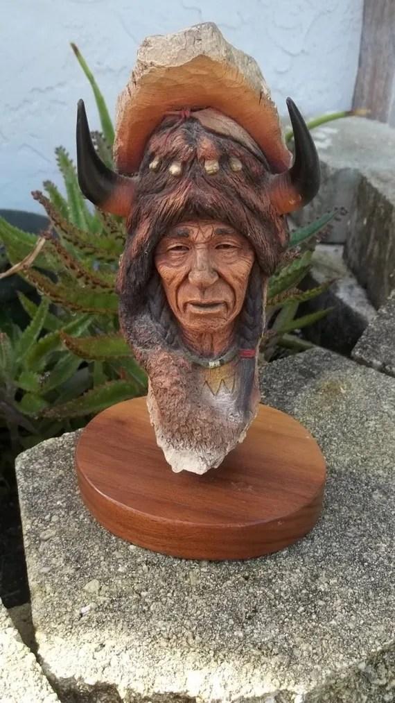 Vintage Neil J Rose Native American Indian Sculpture Bust