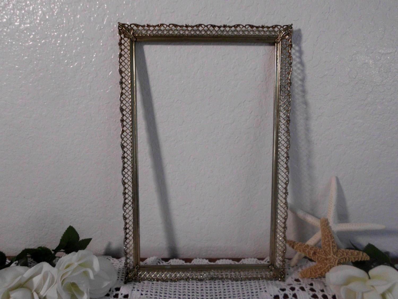 Vintage Ornate Frame Gold Metal Picture Photo Vanity Mirror