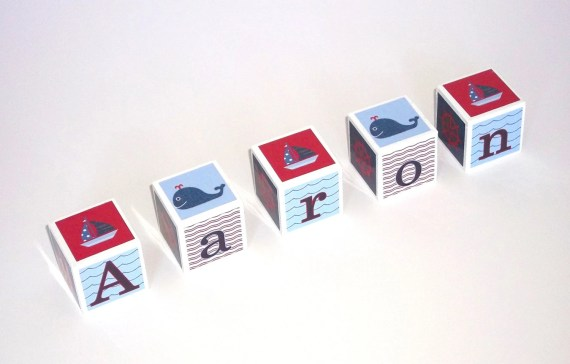 Baby Name Blocks - Photo Prop - Nursery Decor - Nautical Whales and Sailboats