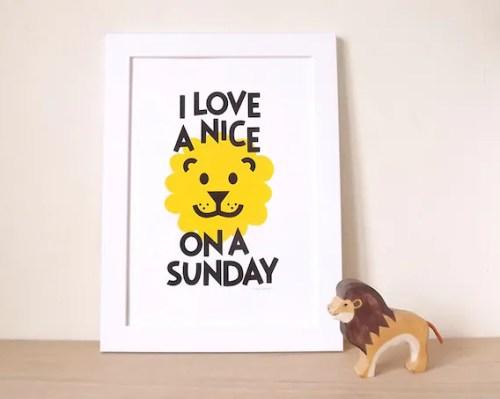 Lion Screenprint, Lion Print, Bedroom Decor, Kids Bedroom Art, Typography Quote Poster, Animal Poster, Kids Print, Funny Poster, fun nursery