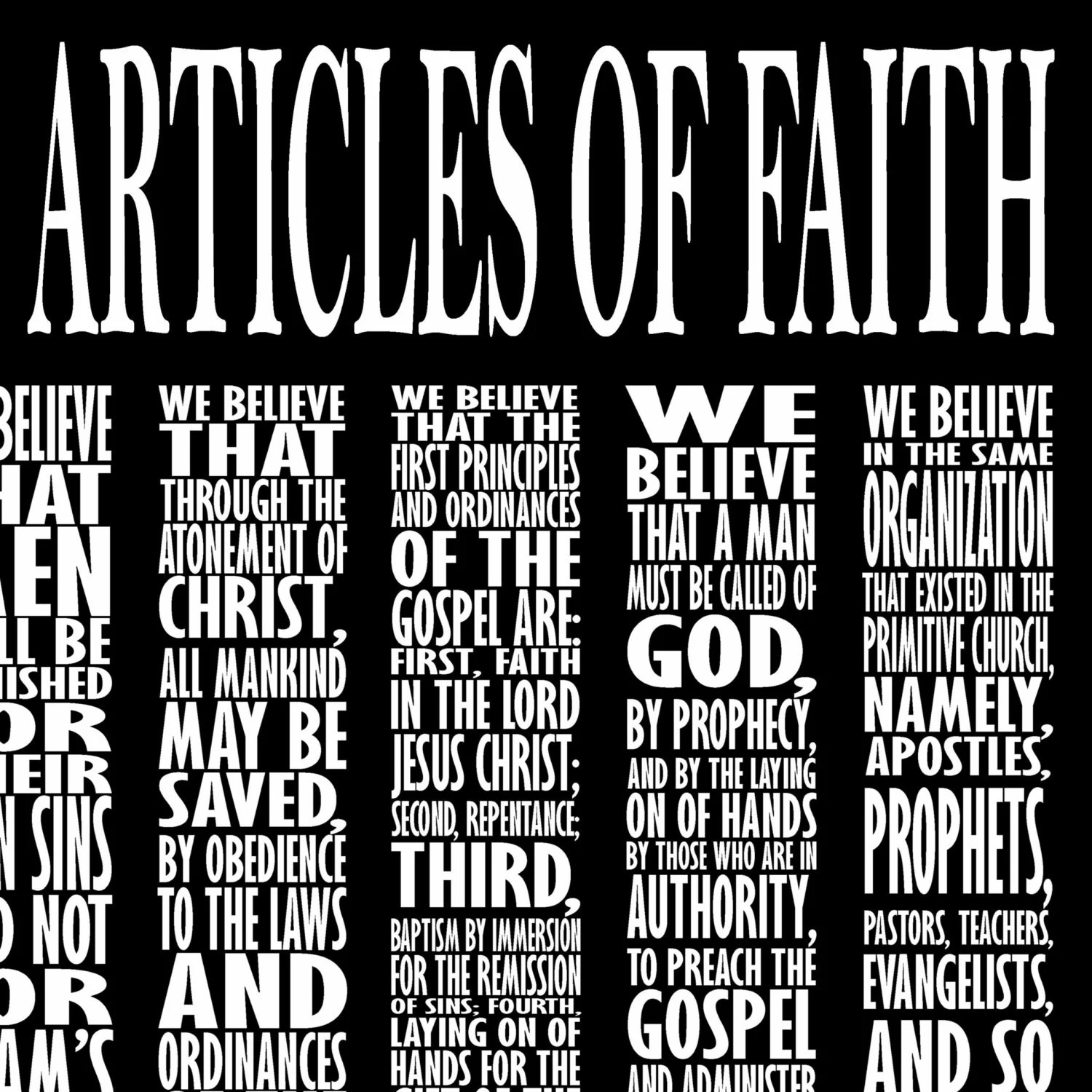 Lds Articles Of Faith Subway Art Digital File 11x14in And