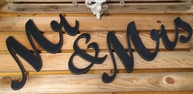 Mr & Mrs Wedding Letters Wooden Head Table Chair Backer