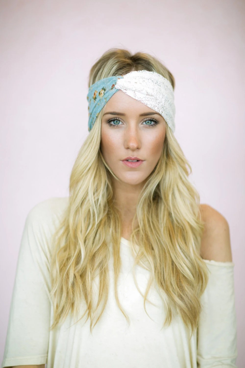 Dusty Rose Lace Turban Headband, Handmade Hair Bands, Fashion Hair Accessories, Crochet Lace and Light Dusty Blue Floral (HB-133)