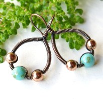 Copper teardrop hoops - wire wrapped turquoise Czech glass bead earrings