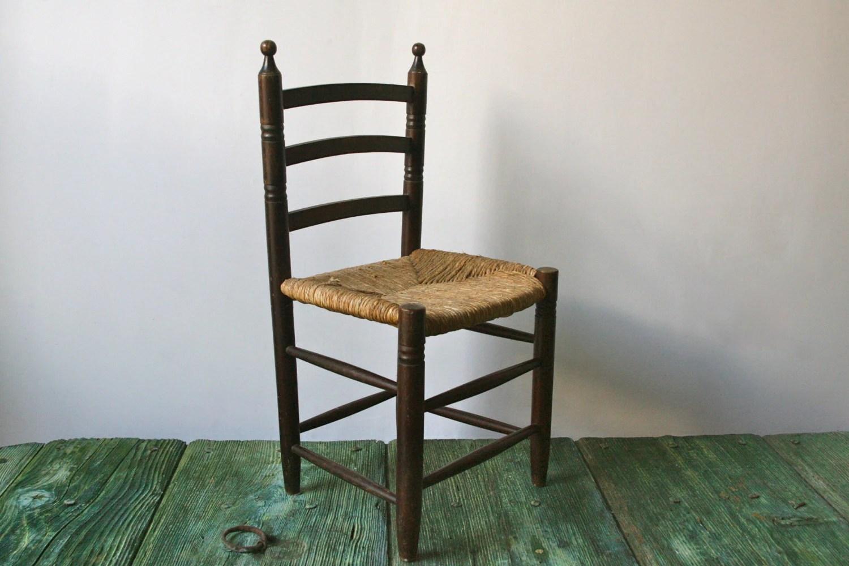 Italian Children S Wooden Chair With Wicker Seat Haute Juice