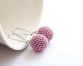 Pastel pink earrings, Beaded bead earrings, Wedding jewelry, Modern jewelry, Minimalist jewelry, Spring summer fashion - LizaKolesnik