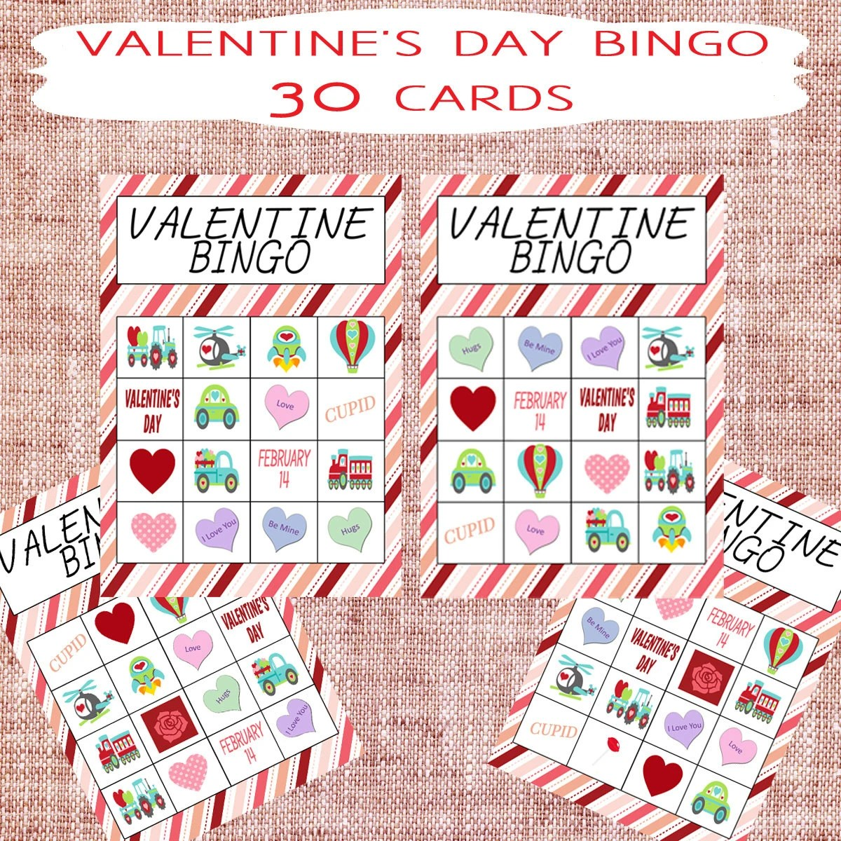 Printable Valentine S Day Bingo Amp Memory Game By Gracehopedesigns
