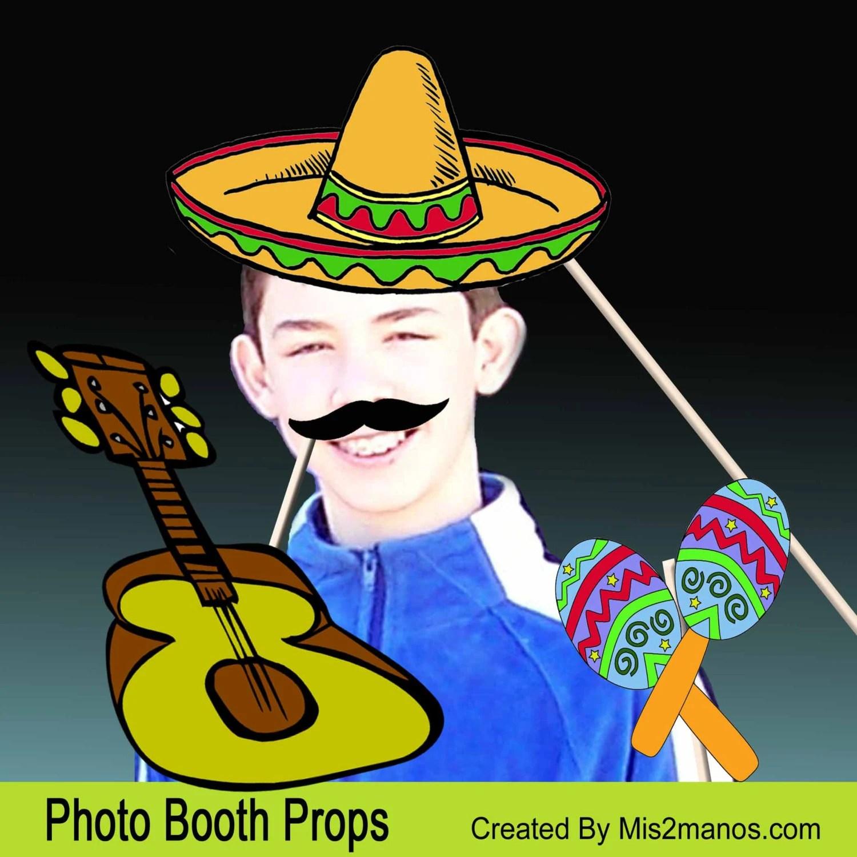Printable Fiesta Photo Booth Props Instant Download 5 De Mayo Set Of 25 Props Fiesta Mexicana