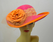 Pink / Orange Derby Hat / Straw Hat w Leather Flower - MixedMediabyBridget