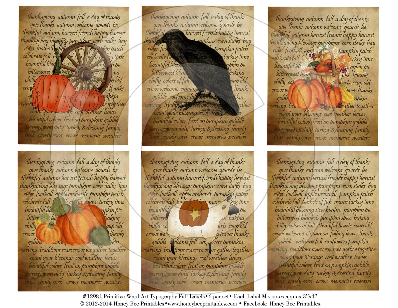 Primitive Harvest Autumn Fall Pantry Labels Printable