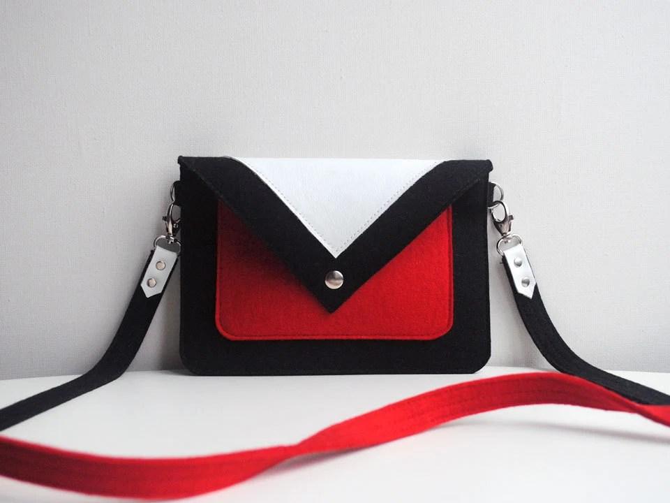 Small Black Red White Wool Felt Genuine Leather Crossbody Bag - FancyfeltShop