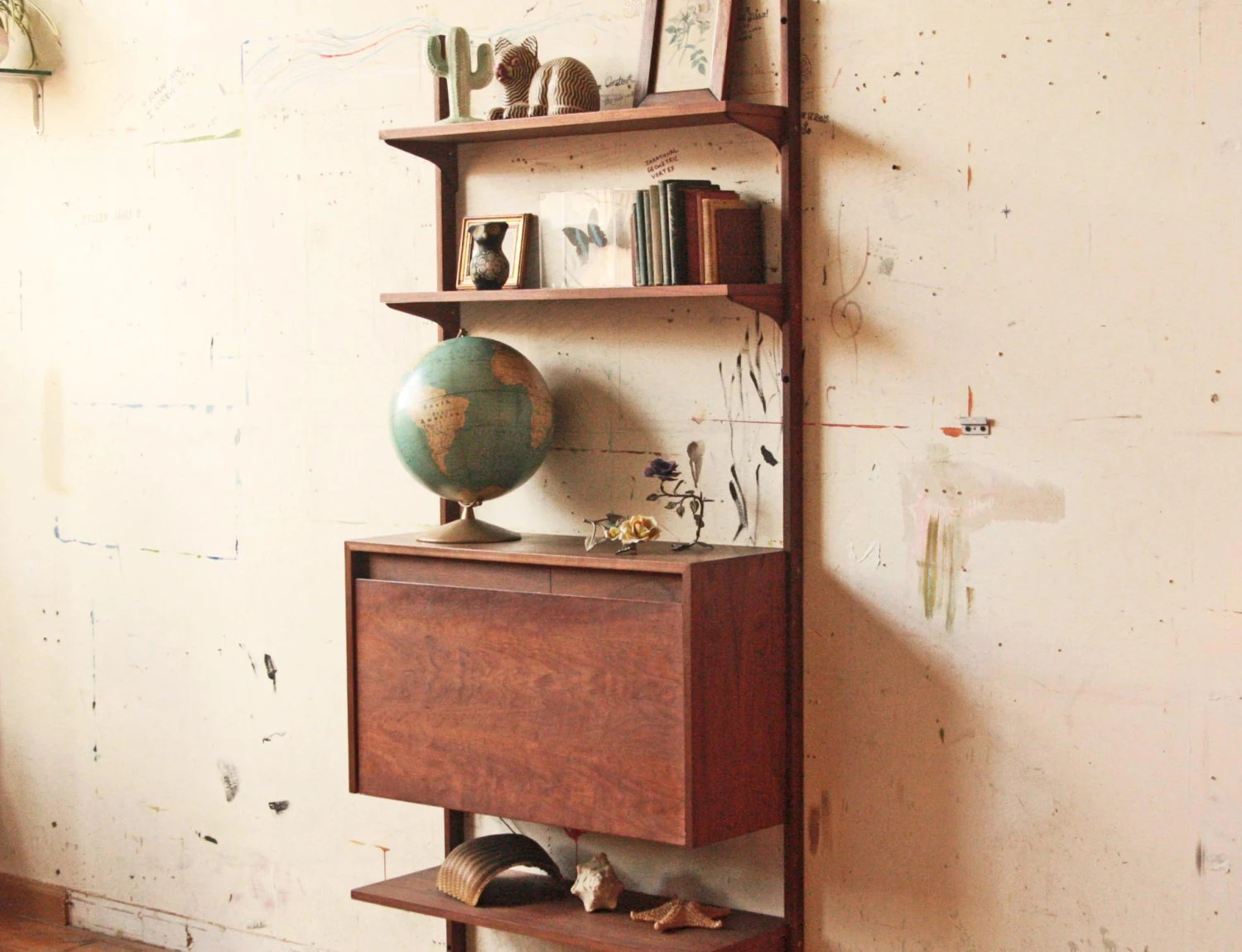 Mid Century Wall Unit Shelving Bar With Light