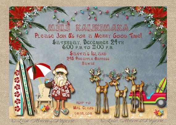 Hawaiian Christmas Party Invitation Santa Claus Party