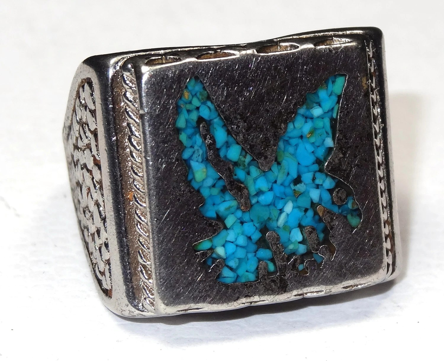 Big Vintage MENS Ring Silver TURQUOISE Inlay EAGLE Native
