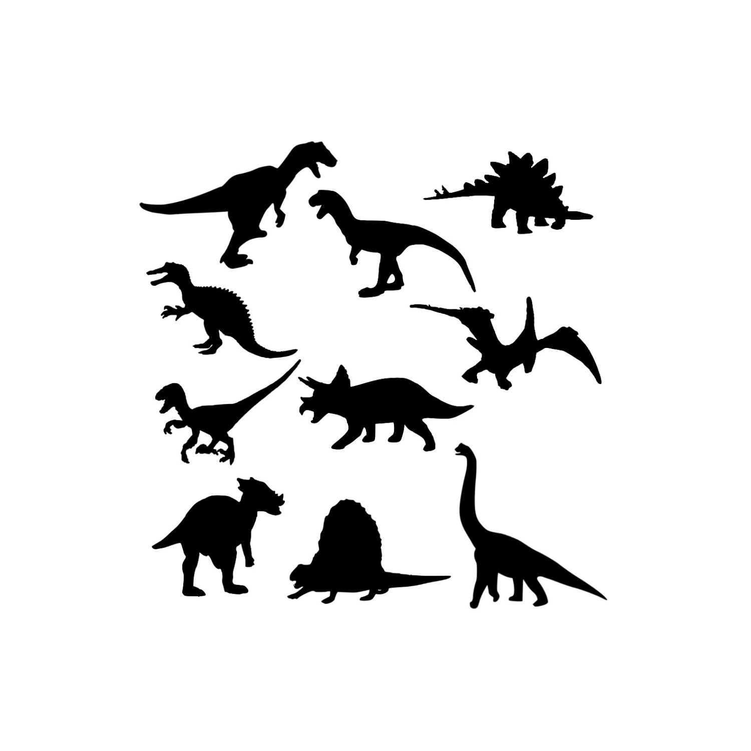 Dinosaur Clipart Digital Download Silhouette Graphics Clip