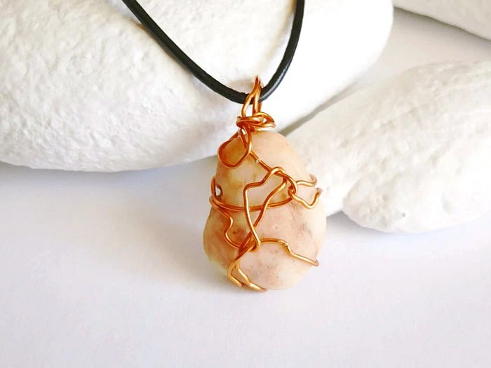 Copper Wire Wrapped Beige With Peach Veins Stone Pendant Necklace- Free Shipping - Stone Necklace - Rock Necklace - Peach Necklace - appalachiandaydream