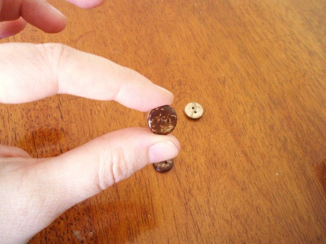 Tiny Coconut Buttons, set of four - small, two-sided natural coconut, 13mm, very light, great on knitwear