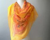Hand Paintend Square Silk Crepe Georgette Scarf  Yellow Orange Spring Fashion Accessorie READY TO SHIP - TanjaDesign
