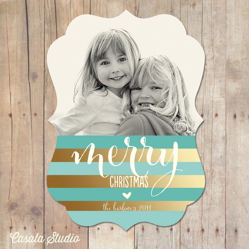 Merry Gold Luxe Ornate Stripes Ornate Christmas New Year Card - casalastudio