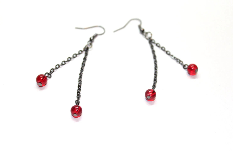 Long Dangle Earrings In Black And Red Gun Metal Beaded