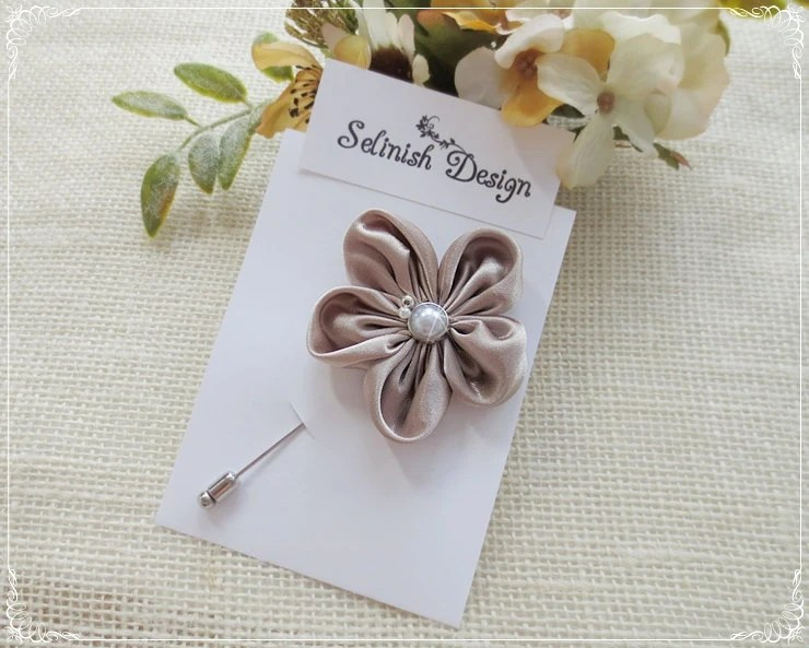 Mens Wedding Boutonnieres Fabric Flower Boutonniere Flower