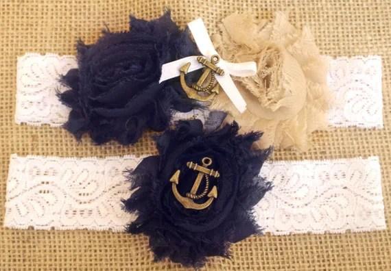 Marine / Navy Wedding Garter W/ Anchor Blue And By