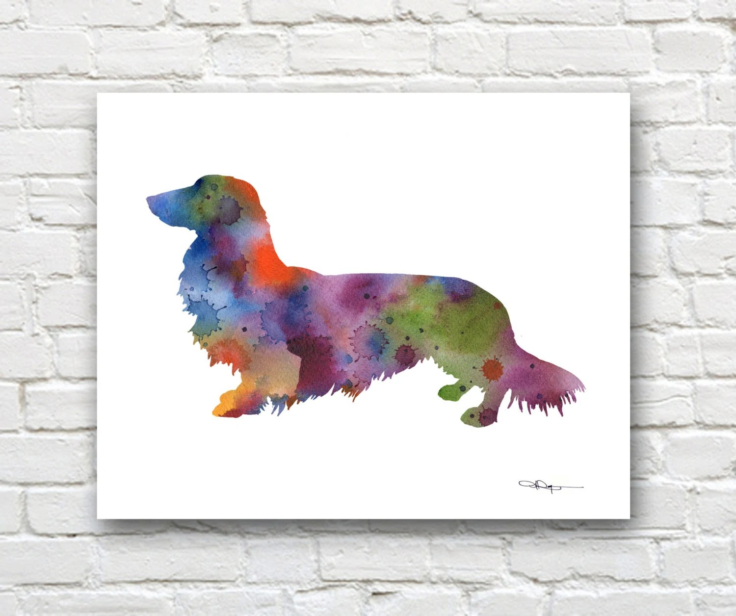 Long Haired Dachshund Art Print Abstract Watercolor Painting