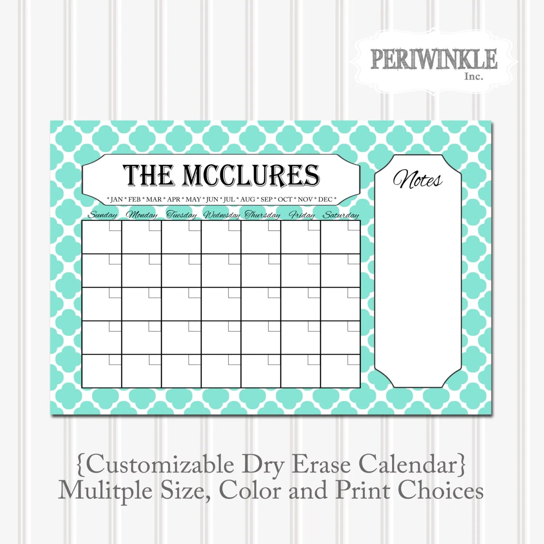 Dry Erase Calendar Printable Fully Cutomizable Mulitple