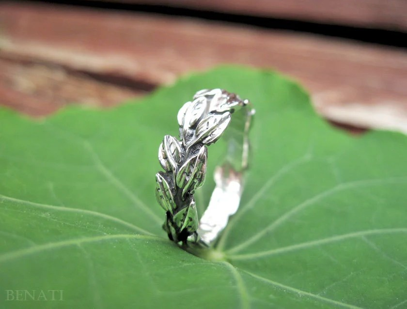 Leaves Wedding Ring In 14k White Gold Leaf Wedding Band Gold