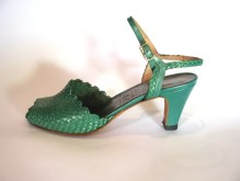 1930s Styled Green Vendome Peep-toe Shoes - 5.5