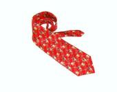 Vintage Silk tie Mens red Polo team Designer Necktie  Retro 90s - burunduchok