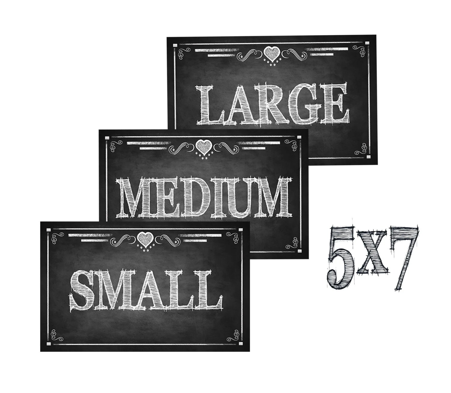 Size Small Medium And Large Signs Chalkboard Style Rustic