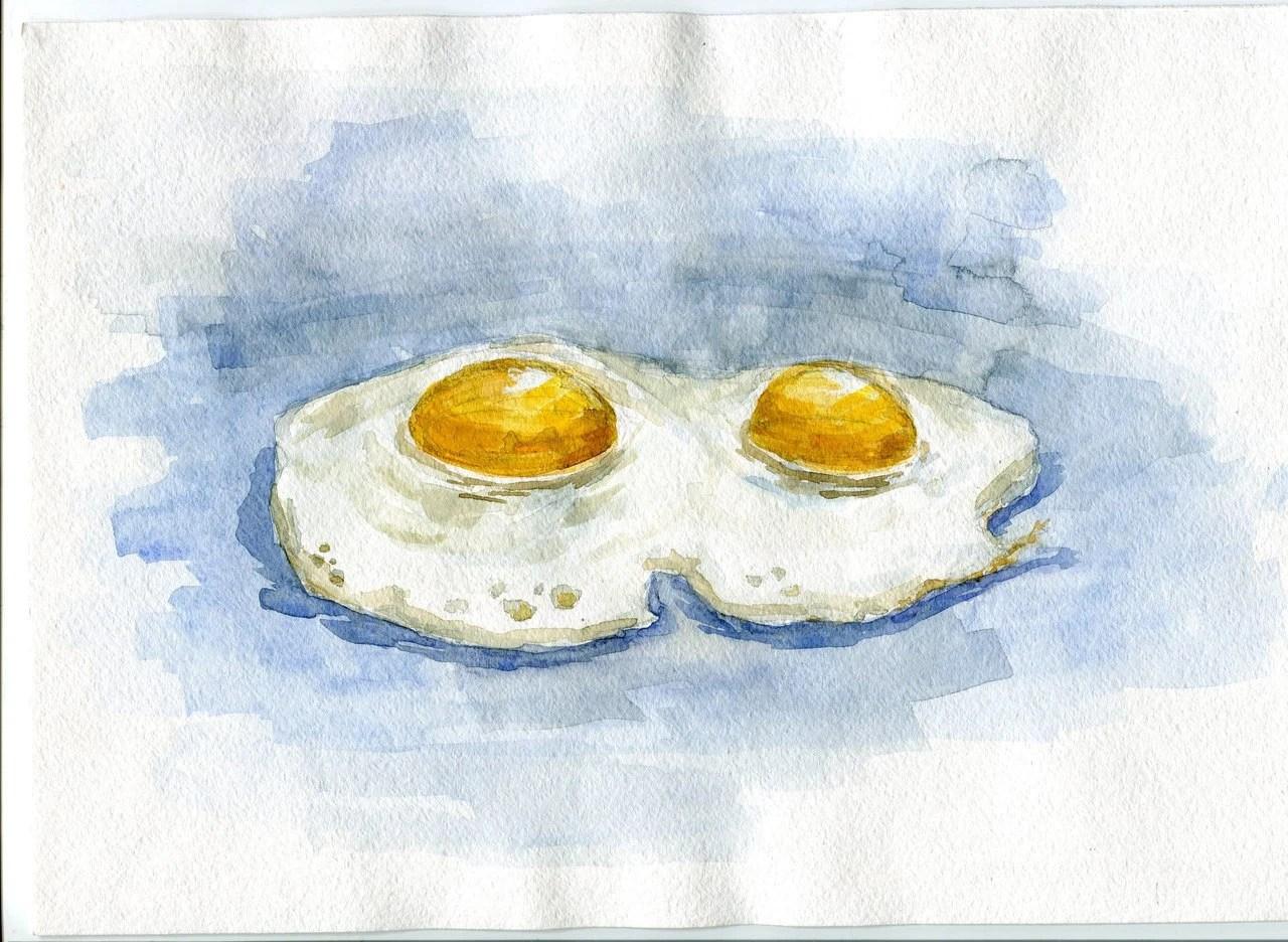 Scrambled eggs print, food print, Food illustration, wall decor, egg art print - ArtVintageRoom