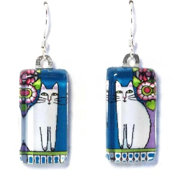 White Cat Jewelry/ Glass Cat Earrings for Spring - SusanFayePetProjects
