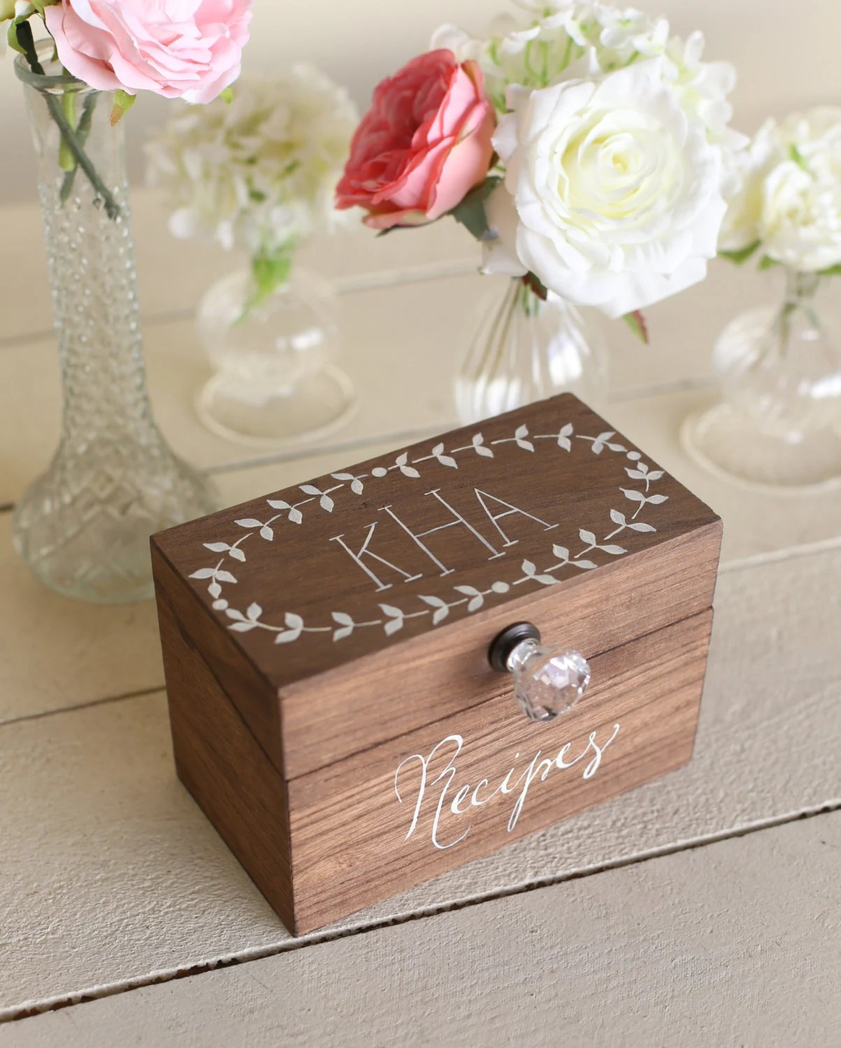Personalized Wood Recipe Box With Faux Glass Knob Monogrammed