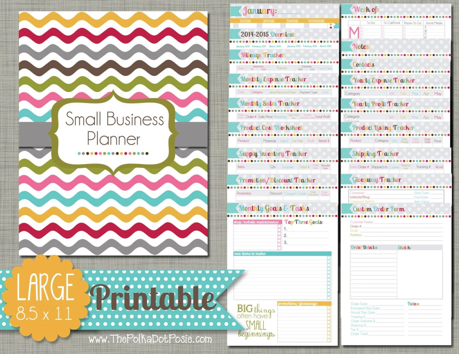 Small Business Planner Printable Set Sized Large 8 5