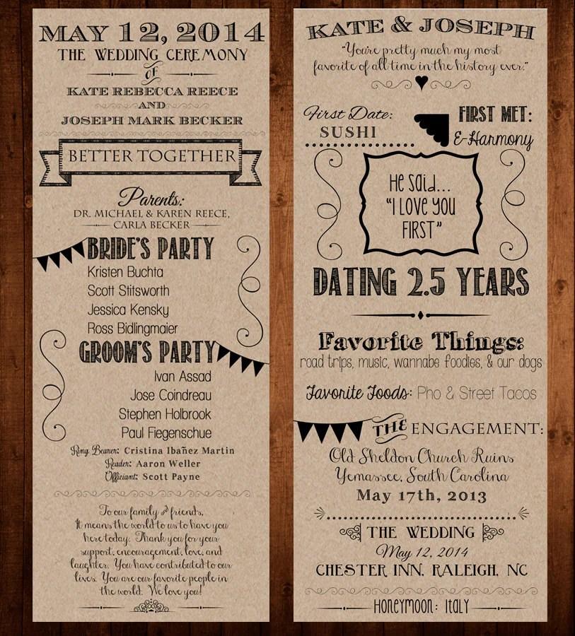 Wedding Anniversary Program Ideas: Our Love Story / Wedding Program Printable / 4.25×11