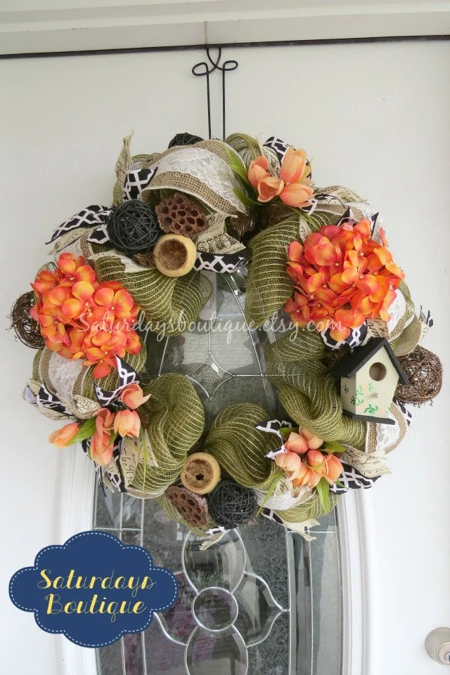 Spring Birdhouse Deco Mesh Wreath