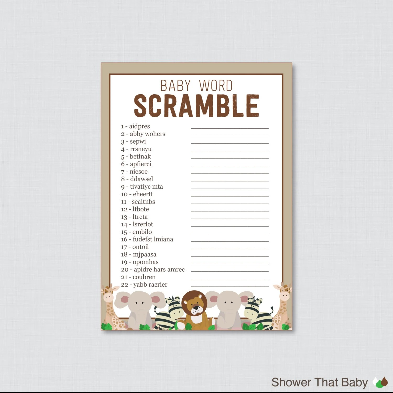 Safari Baby Shower Word Scramble Game Printable Instant