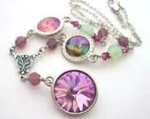 Crystal necklace, lilac pastel necklace. Swarovski crystal rhinestone necklace, green pink purple bling necklace. Rhinestone jewelry. - ArtfulTrinkets1
