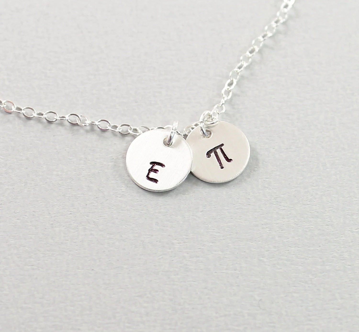 Pi Symbol Necklace Mathematical Jewelry Personalized Initial