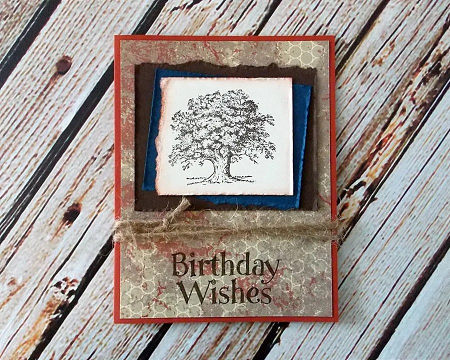 Handmade Masculine Birthday Card with Envelope - Grunge Style Birthday Card for Man
