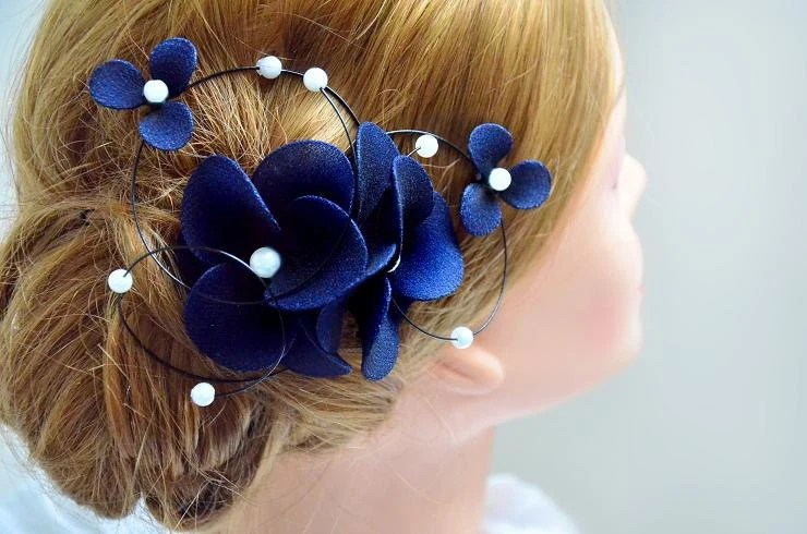 Floral Headpiece Navy Headpiece Bridal Hair Clip Wedding