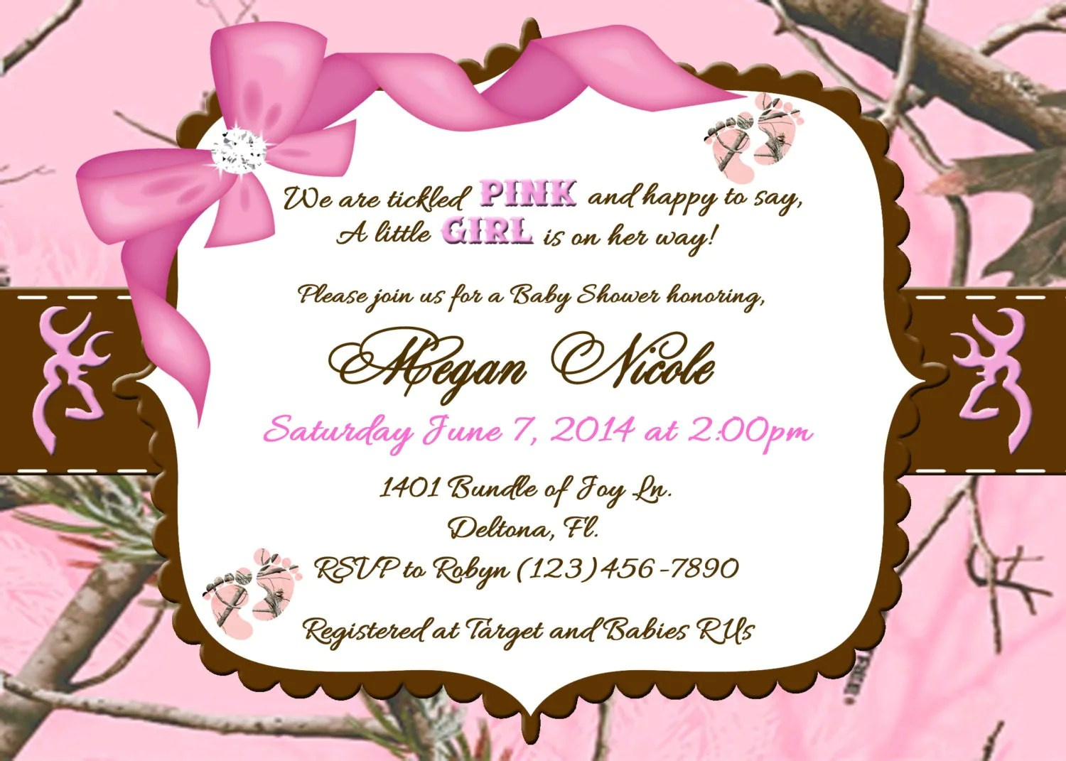 Tickled Pink Camo Baby Shower Invitation Intable