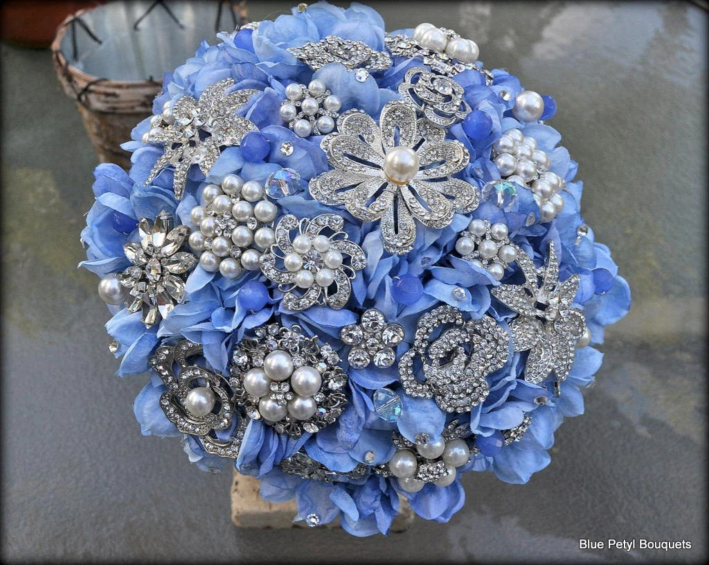 READY TO SHIP Light Blue Hydrangea Bouquet Brooch Bouquet