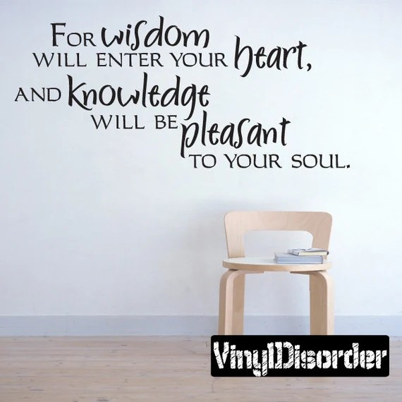 Wisdom Knowledge & Heart Wall Decal by VinylDisorder