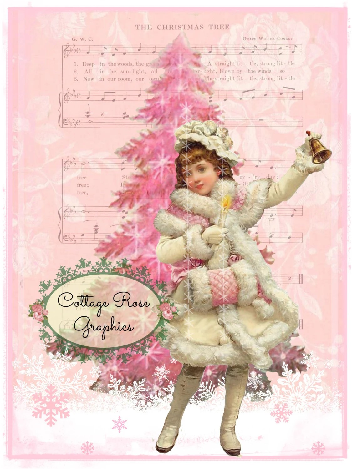 Pink Christmas Tree Girl With Muff And Bell Large Digital