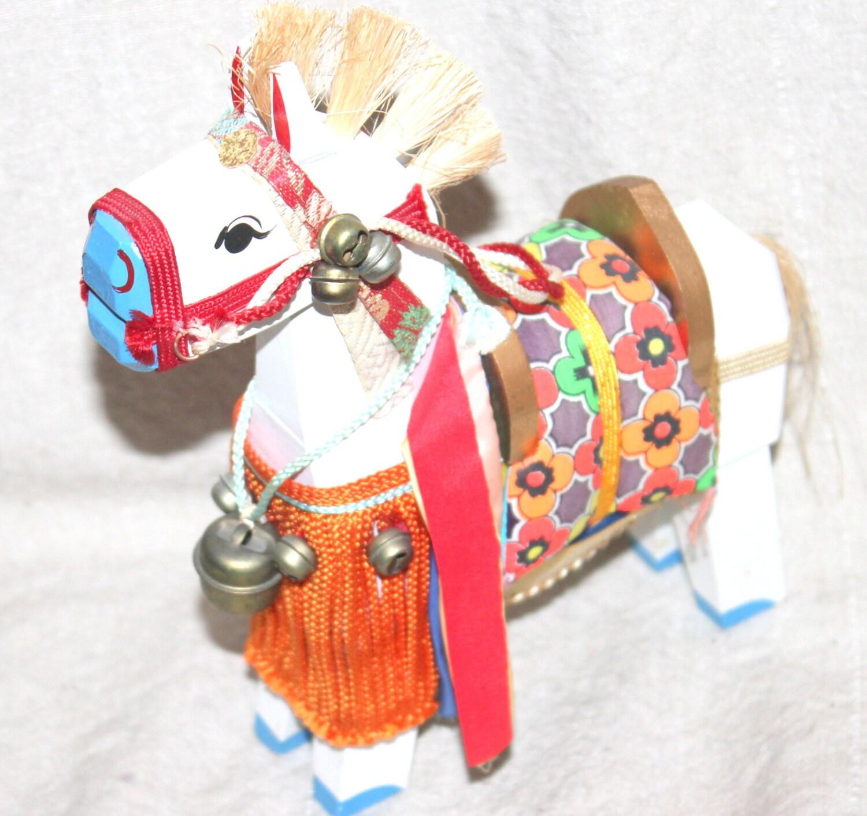 Japanese Kokeshi Folk Horse Painted Wood Horse Folk Art